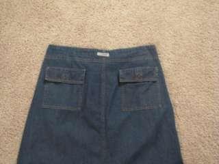 Eddie Bauer Ladies Size 12 Long Jean Denim Skirt Modest 100% Cotton