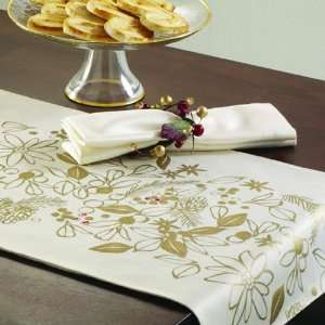 Tag 631431 Ivory Elegant Holiday Table Runner with Gold Metalic Design