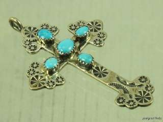 PREVIOUSLY OWNED SOUTHWESTERN STERLING SILVER TURQUOISE CROSS PENDANT