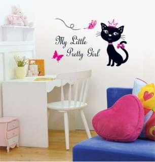 SWST 08 Pretty Girl Cat, Decals Home Art Wall Sticker