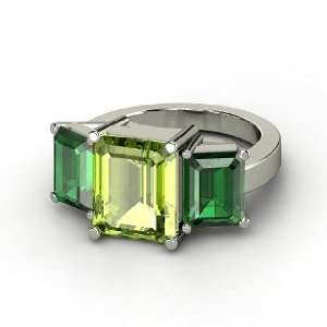 Ring, Emerald Cut Peridot 14K White Gold Ring with Emerald Jewelry