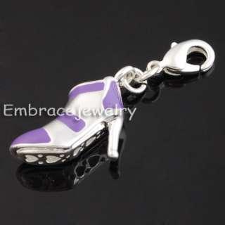 Purple High Heel shoe silver lobster embrace charm T548