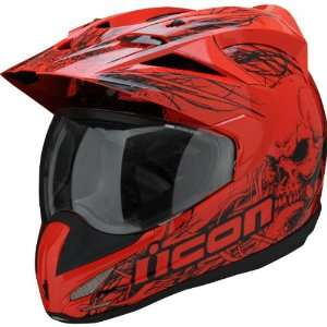 Icon Variant Dual Sport Motorcycle Helmet Etched Red