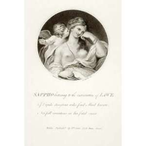Sappho Listening to Cupid Etching Cipriani, Giovanni Battista