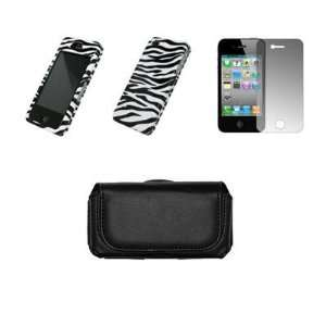Case Cover+LCD Screen Protector+Car Charger for Apple iPhone 4