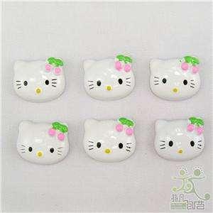 20 white resin kitty flatback Button pink cherry bows