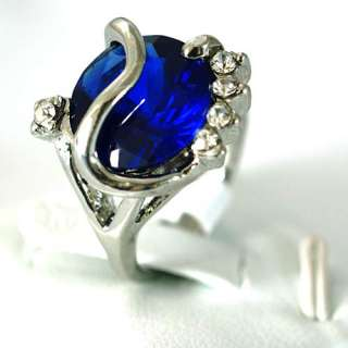 r7316 Sz 5.5 Ladys Exalted Blue Sapphire 10K White Gold Plate CZ