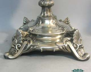 Fine Antique Pair Of Large Polish Silver Plated Candlesticks Ca 1900