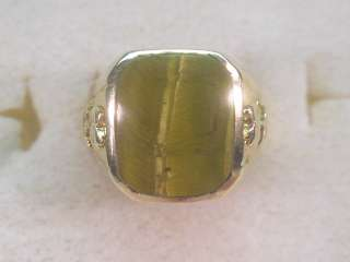 GEMSTONE18KT GOLD GP DESIGNER SIGNED DOLPHIN ORE MENS TIGER EYE RING