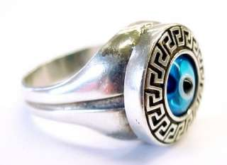EYEBALL ~ Blue Glass / Sterling Silver Southwestern Design Ring ~ Size