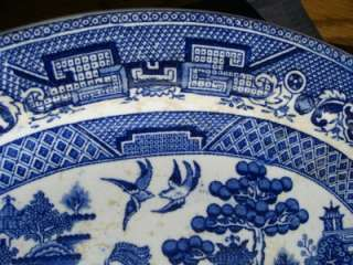 OLD HOLLAND / DUTCH PETRUS REGOUT BLUE WILLOW PLATTER 9.5X7