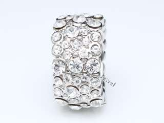 Bling Silver Crystal Cluster Fashion Cocktail Ring S 7