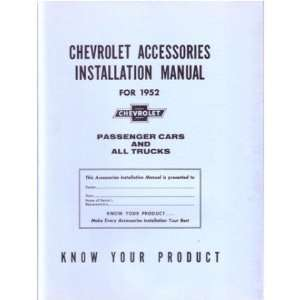 1952 CHEVROLET CAR TRUCK Accessory Installation Manual