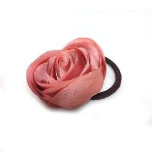 Beautiful Pink Rose Flower Hair Holder Ponytail Holder