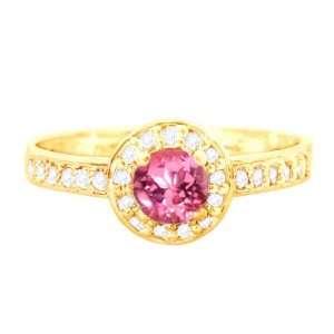 14K Yellow Gold Medium Round Gemstone and Diamond Engagement Ring Pink