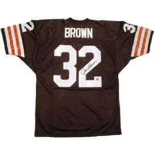 Jim Brown Autographed Brown Custom Jersey  Sports