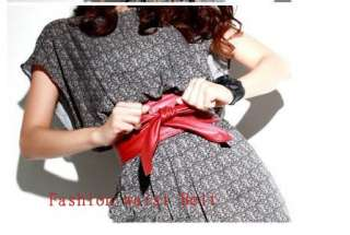 Fashion women red & black butterfly Strap Faux Leather Elastic Waist