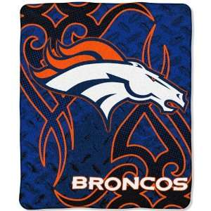Denver Broncos Royal Plush Raschel NFL Blanket (Tattoo
