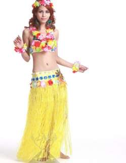 C208 Halloween Christmas Hawaiian hula Dance Costume grass skirt 6