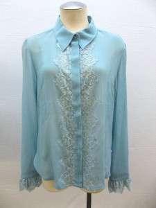 Department Store Ladies Blue Silk Blouse Size 14P