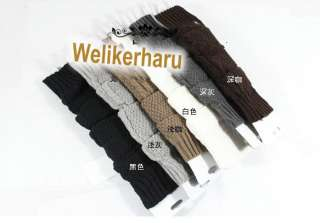 WINTER KNIT CROCHET WOOL ARM WARMER FINGERLESS GLOVE 5 COLOR