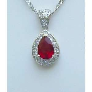 Ruby Stone Pear Cut Pendant   Kikis Radiant Ruby