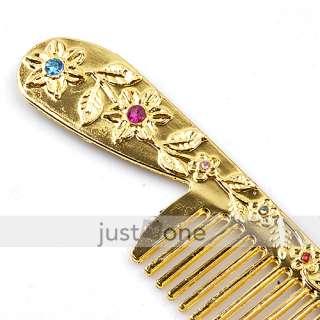 golden rhinestone compact pocket mirror hair comb set article nr