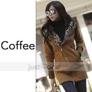Women Lady Girls Casual Cotton Long Sleeves Leopard Hooded Coat Colors
