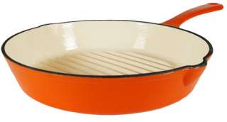 Enameled Cast Iron Orange Grill Pan 11 1/2, on Sale!