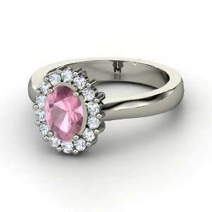 Princess Kate Ring, Oval Pink Tourmaline 14K White Gold Ring
