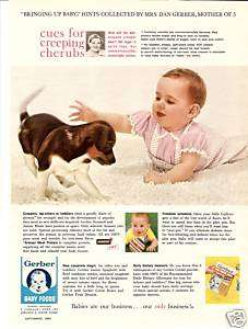 1960 GERBER BABY FOODS BABY PUPPY PHOTO COLOR PRINT AD