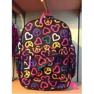 Disney Peace Love Mickey Mouse Pattern Backpack NEW