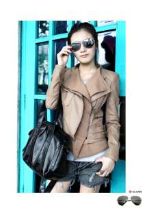 NWT SPAIN VINTAGE WOMENS ZIP PU LEATHER COAT JACKET MOTORCYCLE SUIT