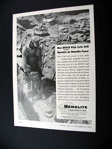 Homelite Generator & Bosch Rock Drill 1954 print Ad
