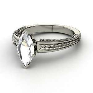 Marquise Ceres Ring, Marquise Rock Crystal 14K White Gold Ring