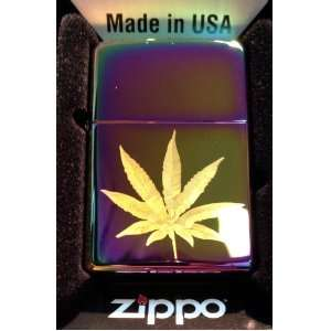 Zippo Custom Lighter   Marijuana Pot Weed Ganja Leaf Logo High Polish