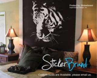 Vinyl Wall Decal Sticker Large Tiger Face 65x50 White