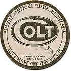 Pistols Revolvers Machine Guns Round Logo Vintage Metal Tin Sign USA