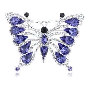 Silver Tone Capri Blue Butterfly Outlining Swarovski Crystal Element
