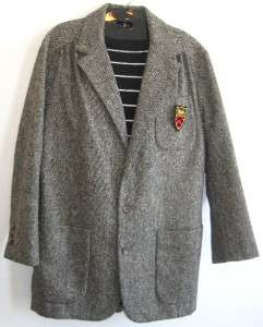 Ralph Lauren Vtg Tweed Wool Blazer Crest Womens 12 Polo