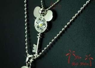 Silver DISNEY MICKEY MOUSE Key & Love Lock LONG NECKLACE use SWAROVSKI
