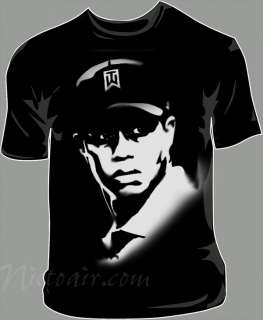 Tiger Woods shirt airbrushed with stencils |