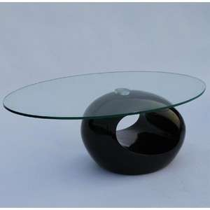 Modern Glass Top Unique Shape Coffee Table Black,Red, White Z GT25