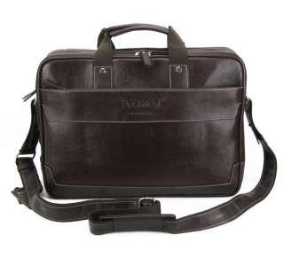 New big mens PU leather shoulder messenger 16 laptop bag with handle