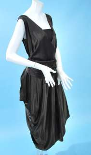 1910 MIDNIGHT BLACK SILK DRAPING SATIN HOBBLE DRESS W/WIDE SASH