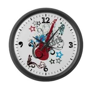 Large Wall Clock Rock Guitar Music