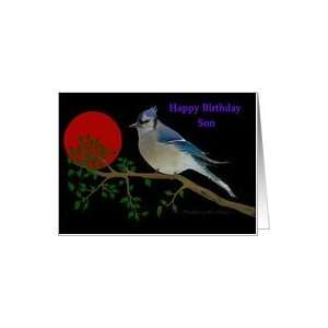 Happy Birthday   Son / Bluejay on a branch   Smudge Art