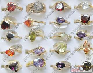Wholesale lots Mix 50 cute CZ Crystal gold plated Rings