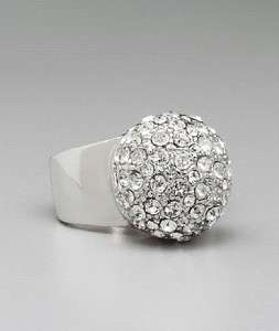 NEW GUESS JEANS CRYSTAL SILVER WIDE BAND PAVE DOME RING   SIZE 7