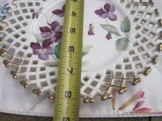 Lefton PLATE Violets Floral Hand Painted Gold Lace Trim